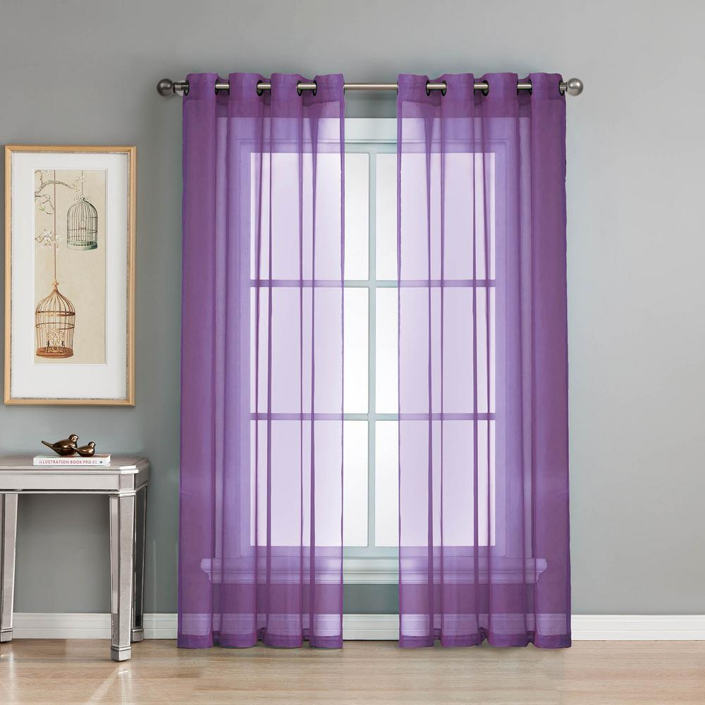 Window Elements Sheer Diamond Sheer 56 In. W X 84 In. L Grommet Extra Wide  Curtain Panel In Voile Purple in Extra Wide White Voile Sheer Curtain Panels (Image 15 of 20)