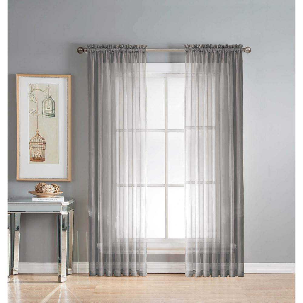 Window Elements Sheer Diamond Sheer Gray Rod Pocket Extra Wide Curtain Panel, 56 In. W X 90 In (View 7 of 20)