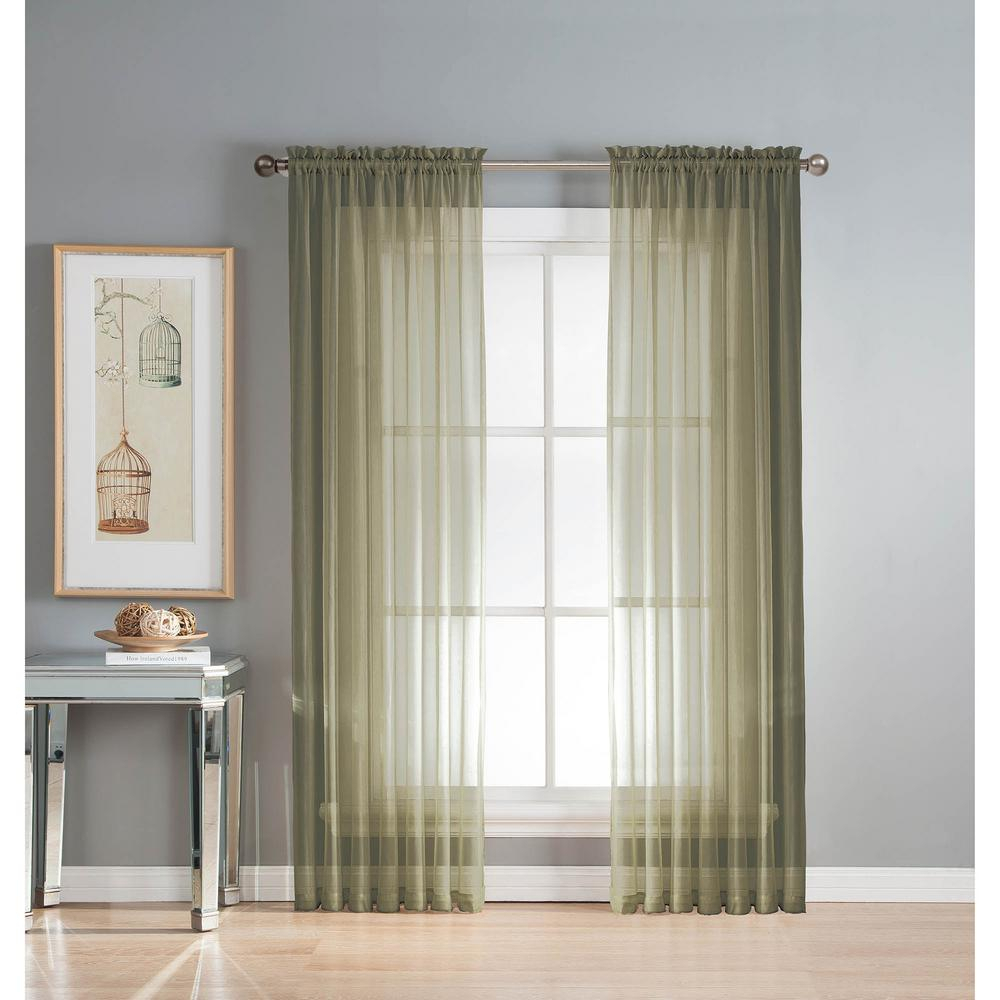 Window Elements Sheer Diamond Sheer Olive Rod Pocket Extra Wide Curtain Panel, 56 In. W X 95 In (View 7 of 20)