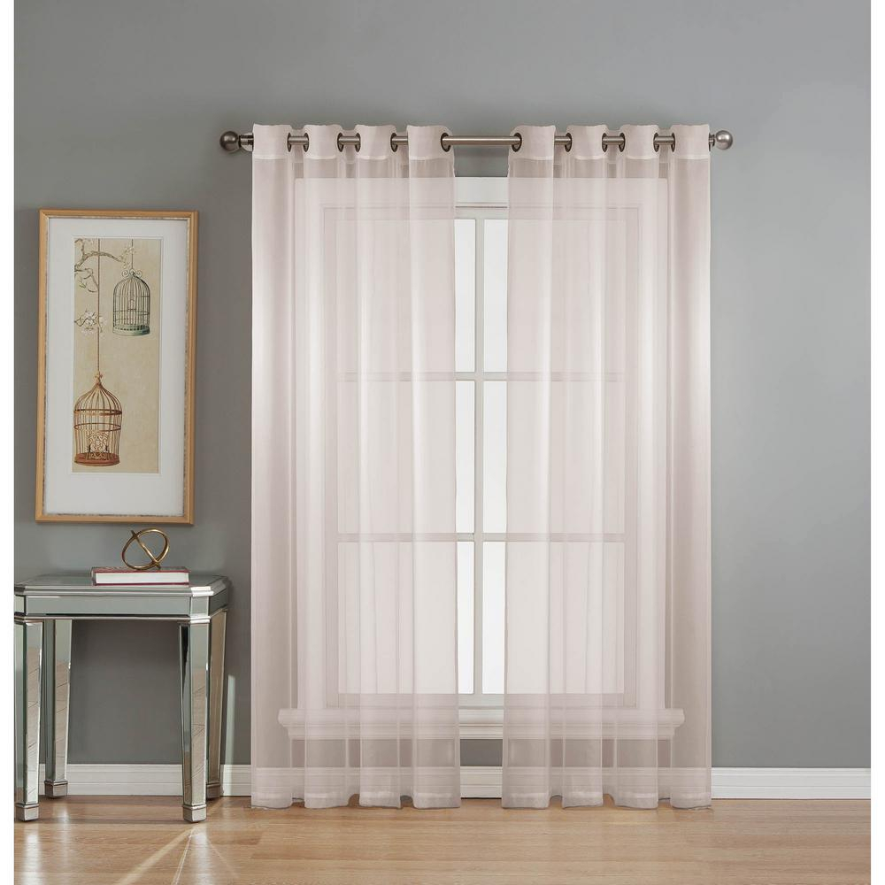 Window Elements Sheer Diamond Sheer Voile White Grommet Extra Wide Curtain Panel, 56 In. W X 84 In (View 4 of 20)