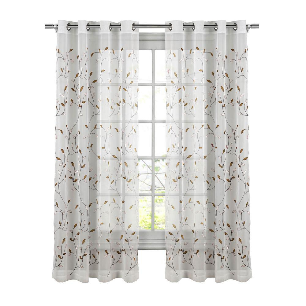 Window Elements Sheer Wavy Leaves Embroidered Sheer Chocolate Grommet Extra Wide Curtain Panel, 54 In. W X 84 In (View 3 of 30)