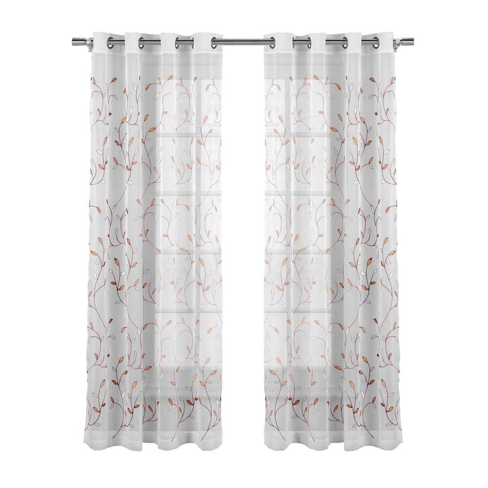 Window Elements Sheer Wavy Leaves Embroidered Sheer Coral Grommet Extra Wide Curtain Panel, 54 In. W X 84 In (View 5 of 30)