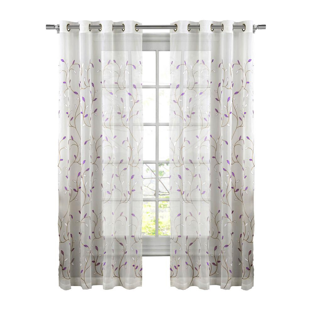 Window Elements Sheer Wavy Leaves Embroidered Sheer Lilac Grommet Extra Wide Curtain Panel, 54 In. W X 84 In (View 4 of 30)