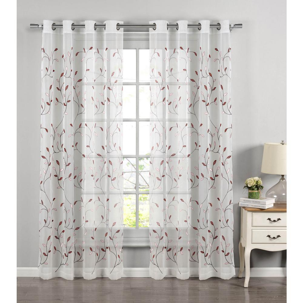 Featured Photo of Wavy Leaves Embroidered Sheer Extra Wide Grommet Curtain Panels