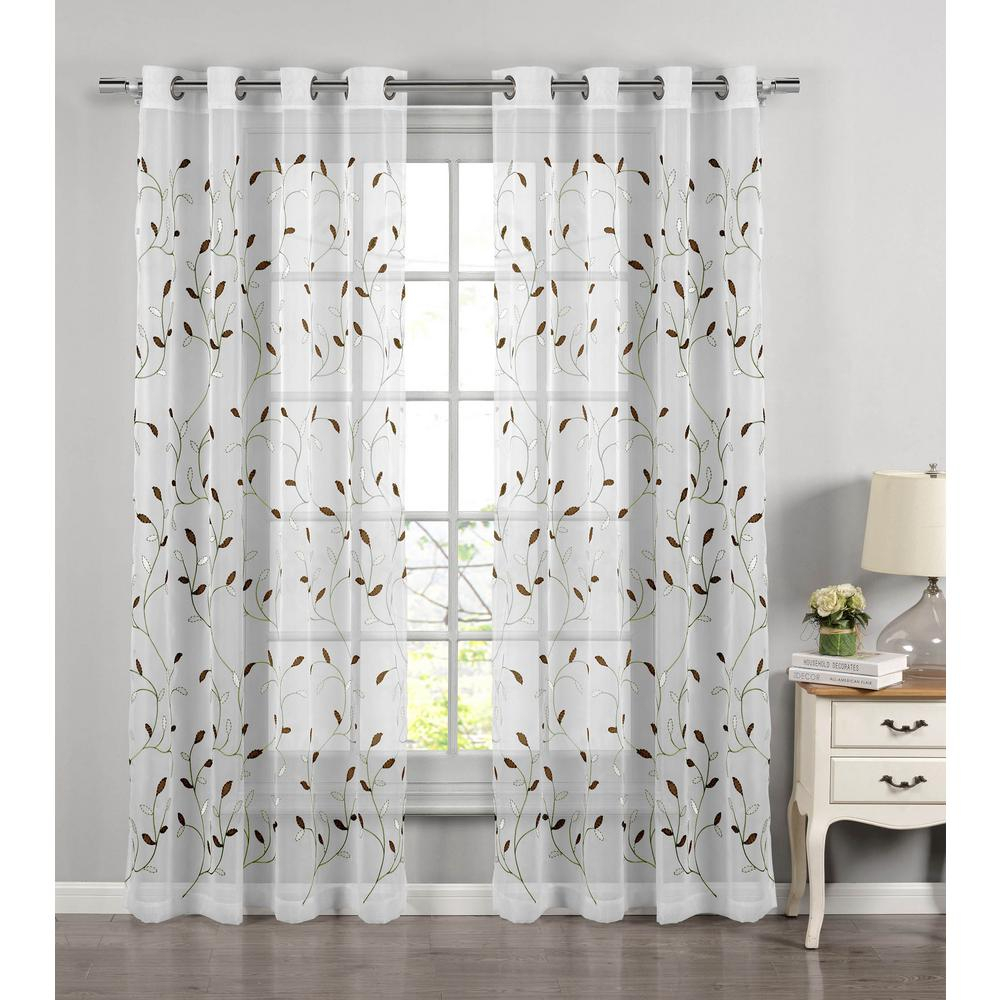 Window Elements Sheer Wavy Leaves Embroidered Sheer Sage Grommet Extra Wide Curtain Panel, 54 In. W X 84 In (View 18 of 20)