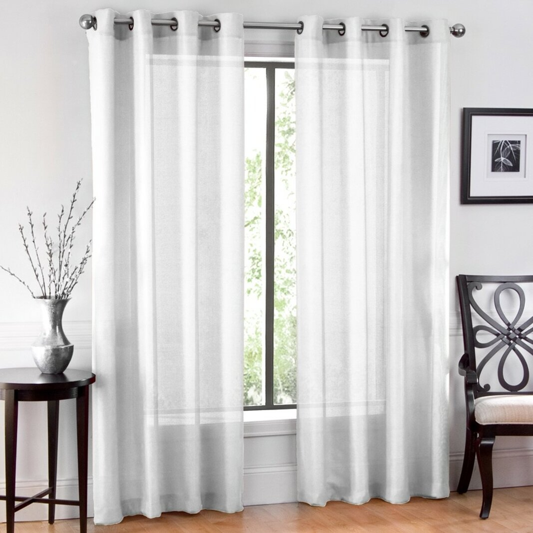Window Sheet Solid Sheer Grommet Curtain Panels within Luxury Collection Venetian Sheer Curtain Panel Pairs (Image 20 of 20)