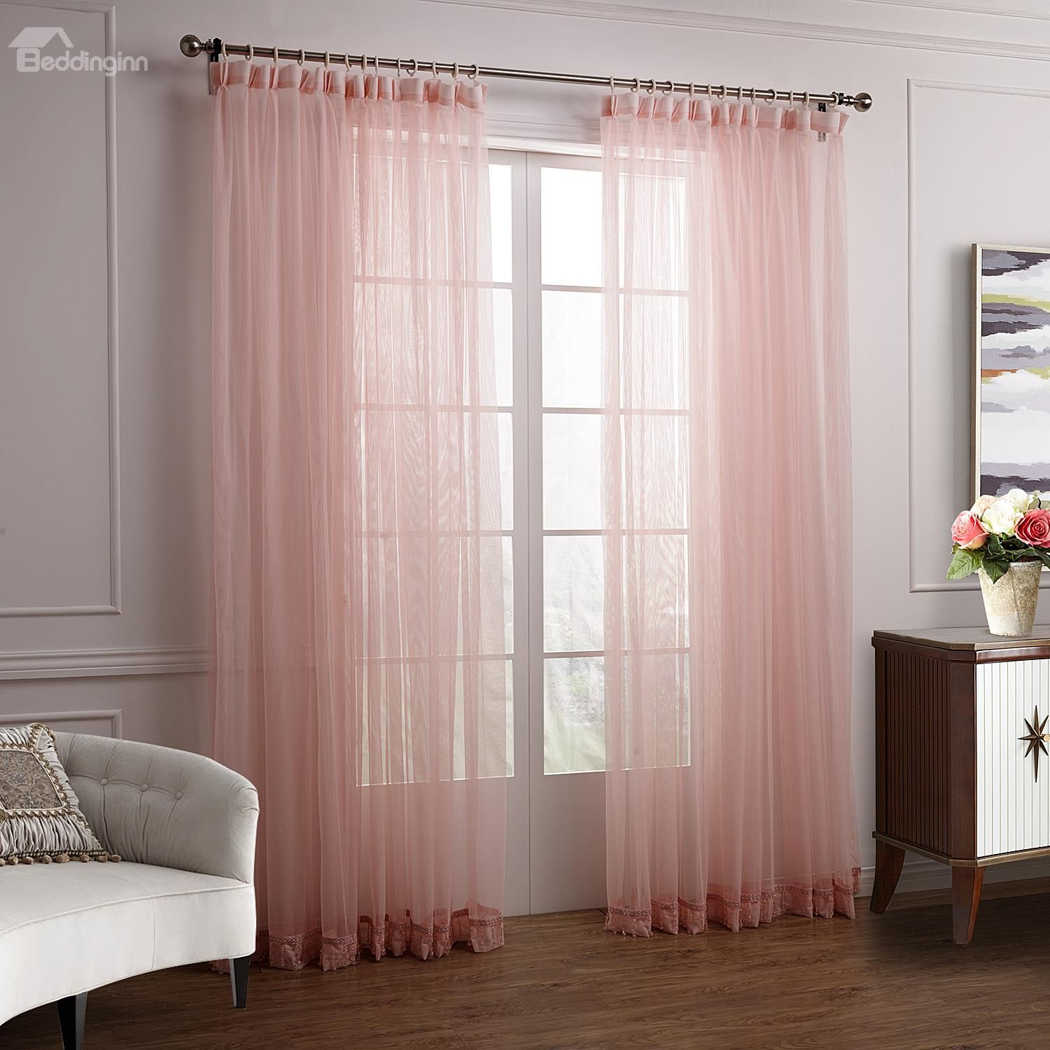 Wonderful Lovely Elegant Pink Cinderella Custom Sheer Within Luxury Collection Summit Sheer Curtain Panel Pairs (View 10 of 20)