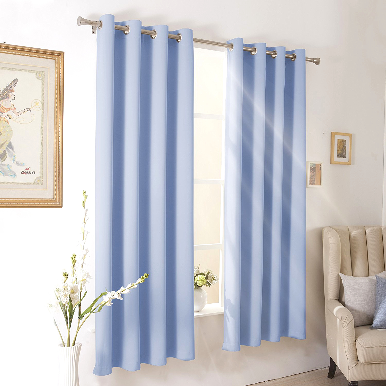 Wontex Blackout Curtains Room Darkening Thermal Insulated With Grommet For 52 X With Regard To Tuscan Thermal Backed Blackout Curtain Panel Pairs (View 20 of 30)