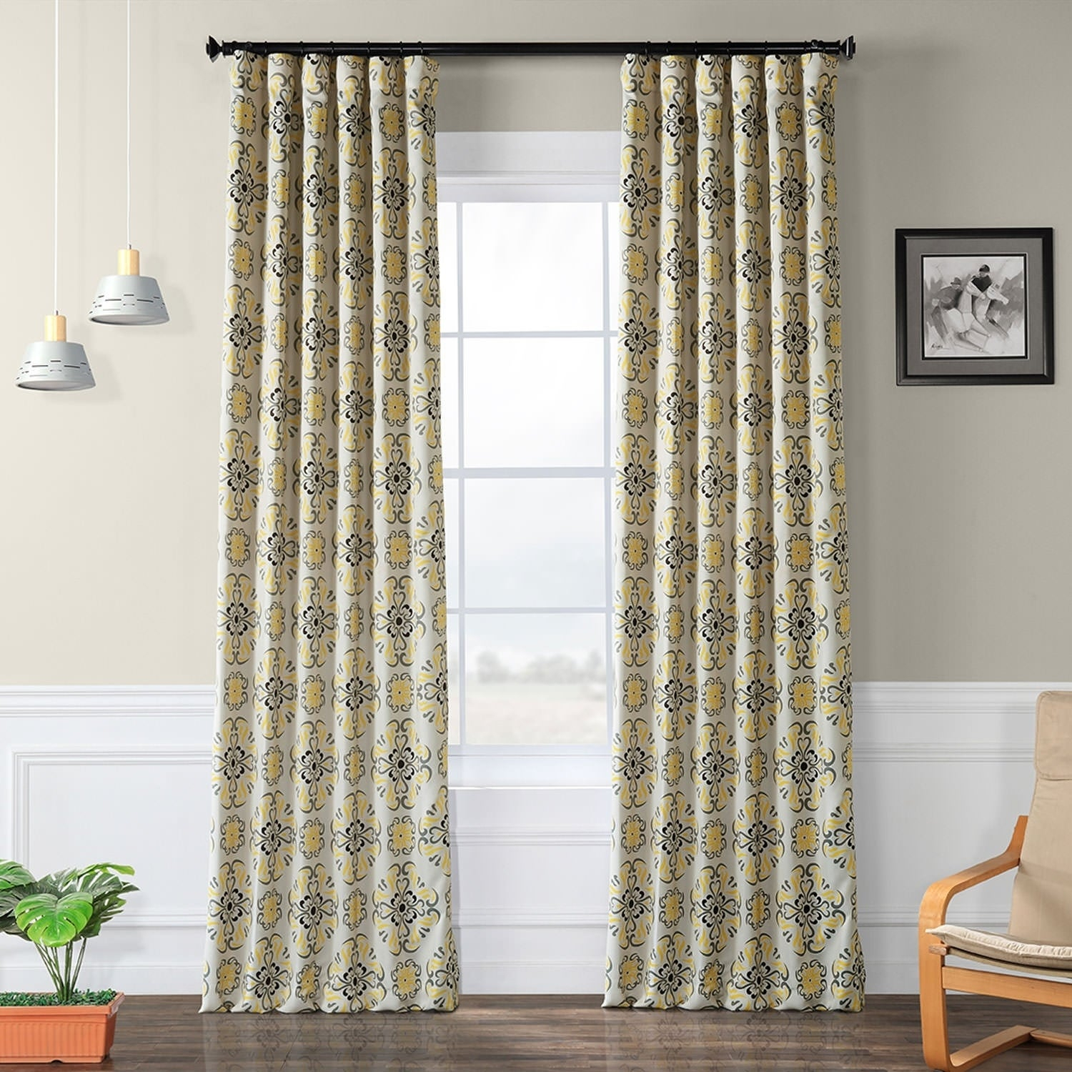 Yellow And Grey Blackout Curtains | Flisol Home Throughout The Curated Nomad Duane Jacquard Grommet Top Curtain Panel Pairs (Gallery 21 of 30)