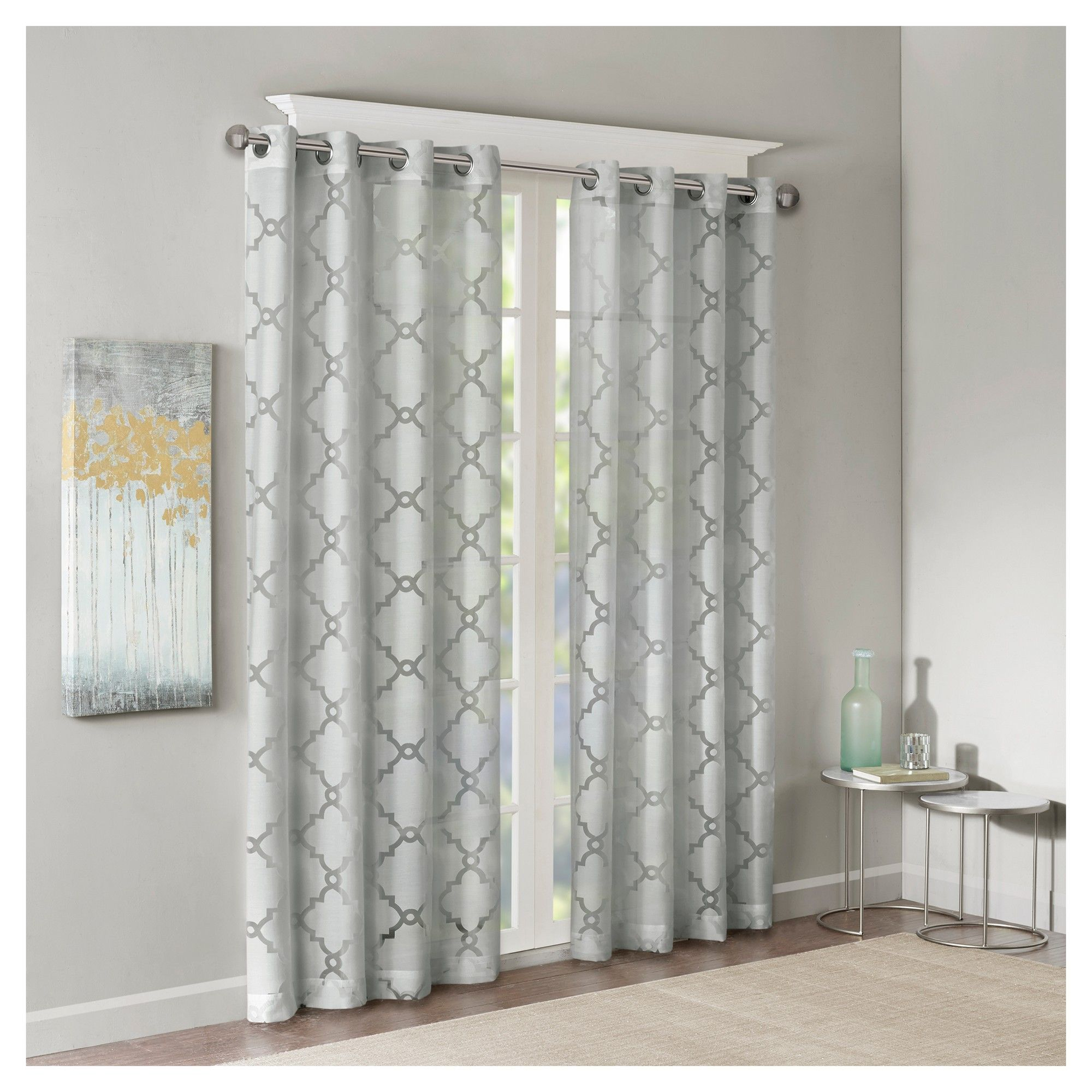 "Zoe Fretwork Burnout Sheer Panel Gray (50""x84"") 