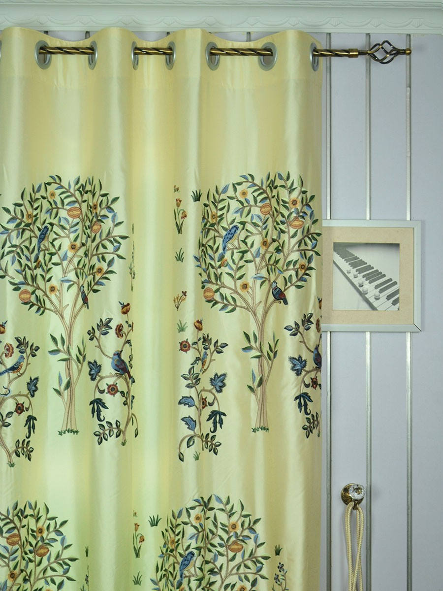 120 Inch Extra Wide Morgan Beige & Blue Embroidered Bird With Floral Embroidered Faux Silk Kitchen Tiers (Gallery 11 of 20)