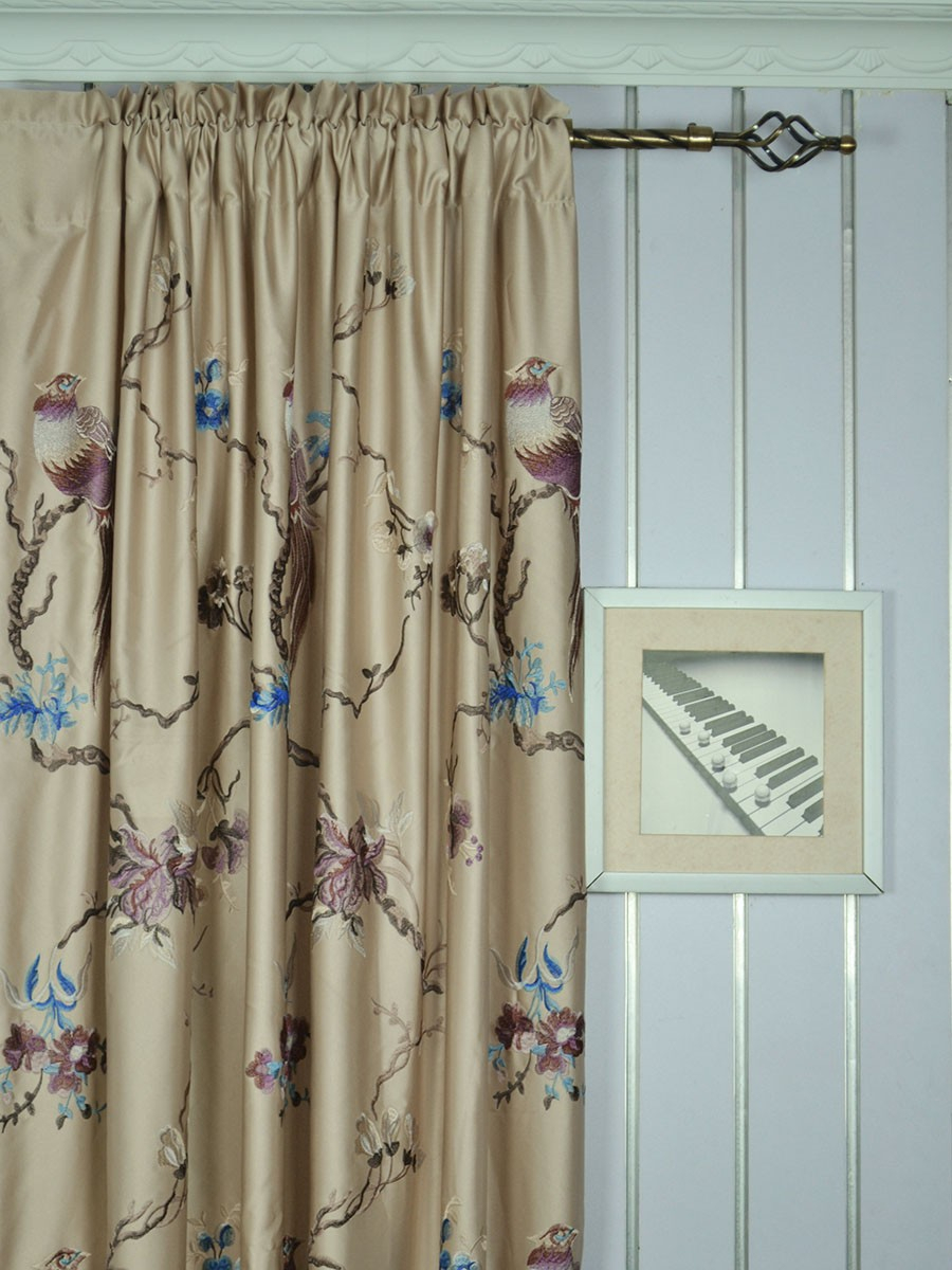 120 Inch Extra Wide Morgan Light Apricot Embroidered Branch For Floral Embroidered Faux Silk Kitchen Tiers (Gallery 4 of 20)