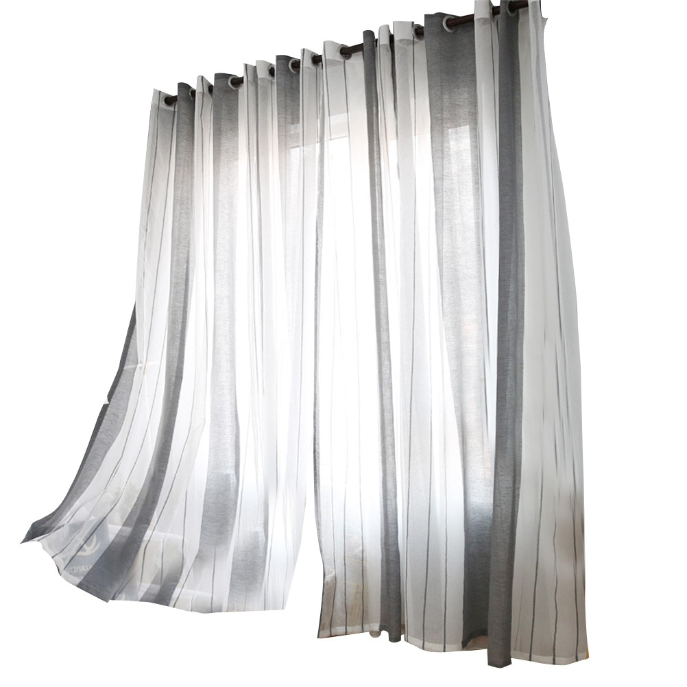 2019 Linen Window Sheer Vertical Stripe Window Tulle With Rod Pocket Voile Curtains For Bedroom Living Room 100x250cm From Huayama, $ (View 18 of 20)