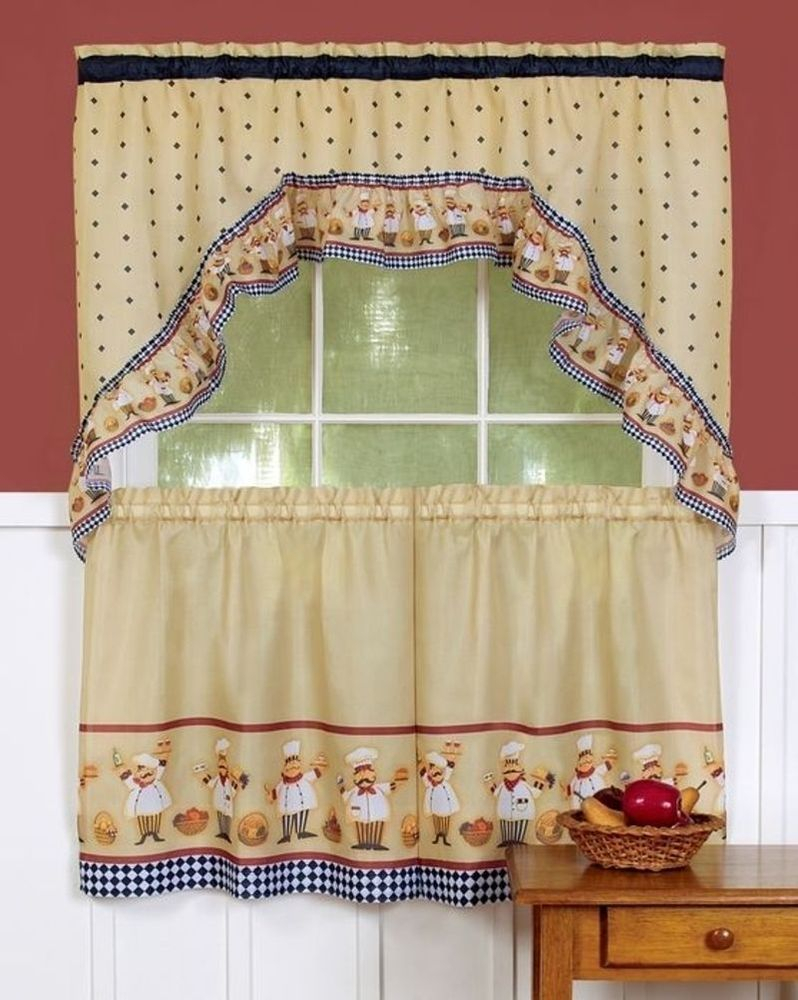 3 Pc Fat Italian/french Chef Printed Tiers & Swag Curtain For Cotton Blend Ivy Floral Tier Curtain And Swag Sets (View 1 of 20)