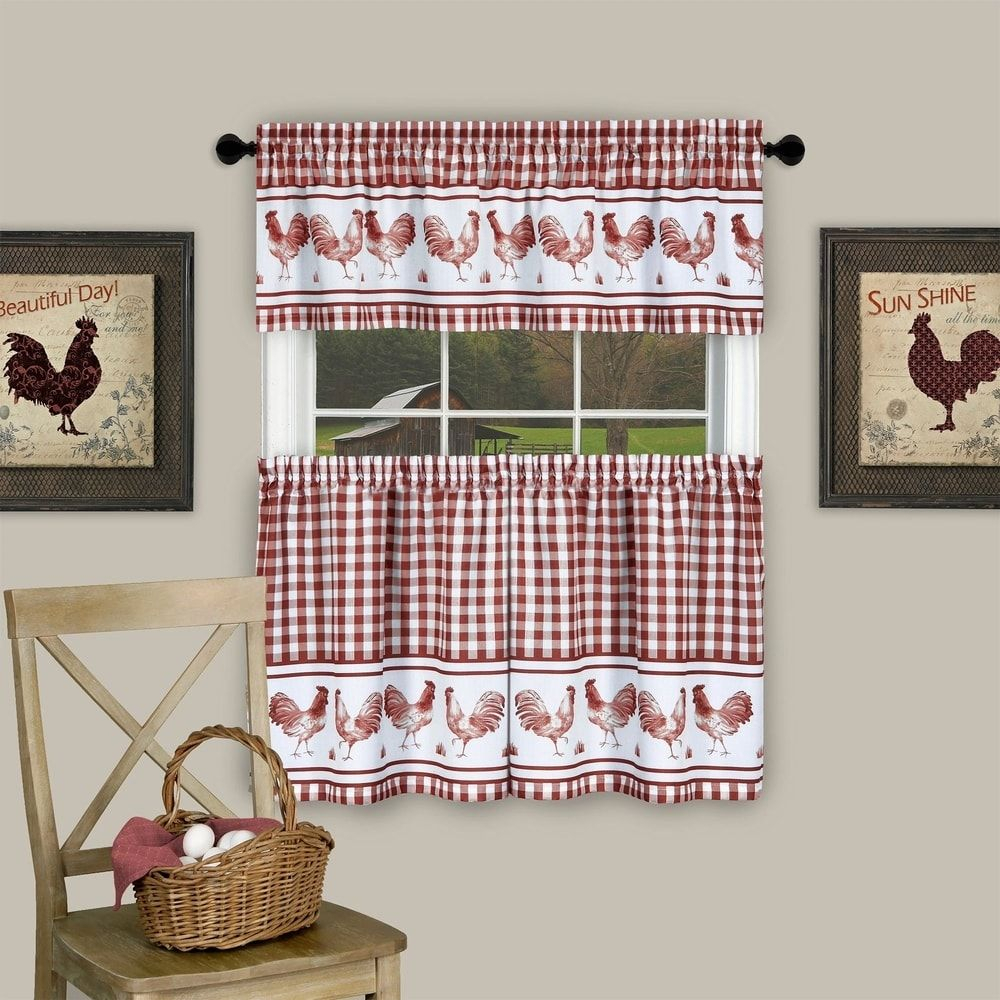 3 Piece Barnyard Buffalo Check Rooster Tier And Valance with regard to Barnyard Buffalo Check Rooster Window Valances (Image 2 of 20)