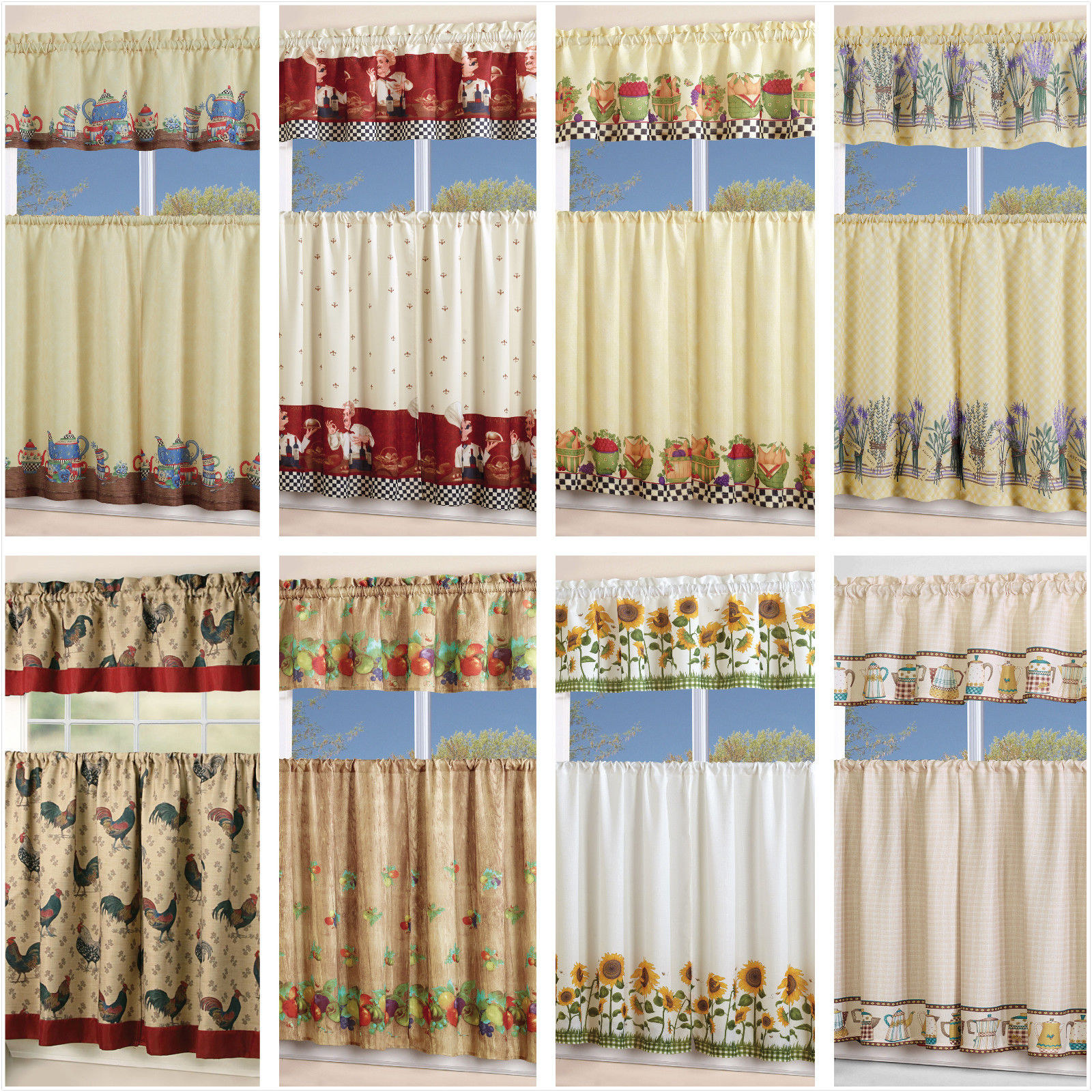 Popular Photo of Chocolate 5 Piece Curtain Tier And Swag Sets