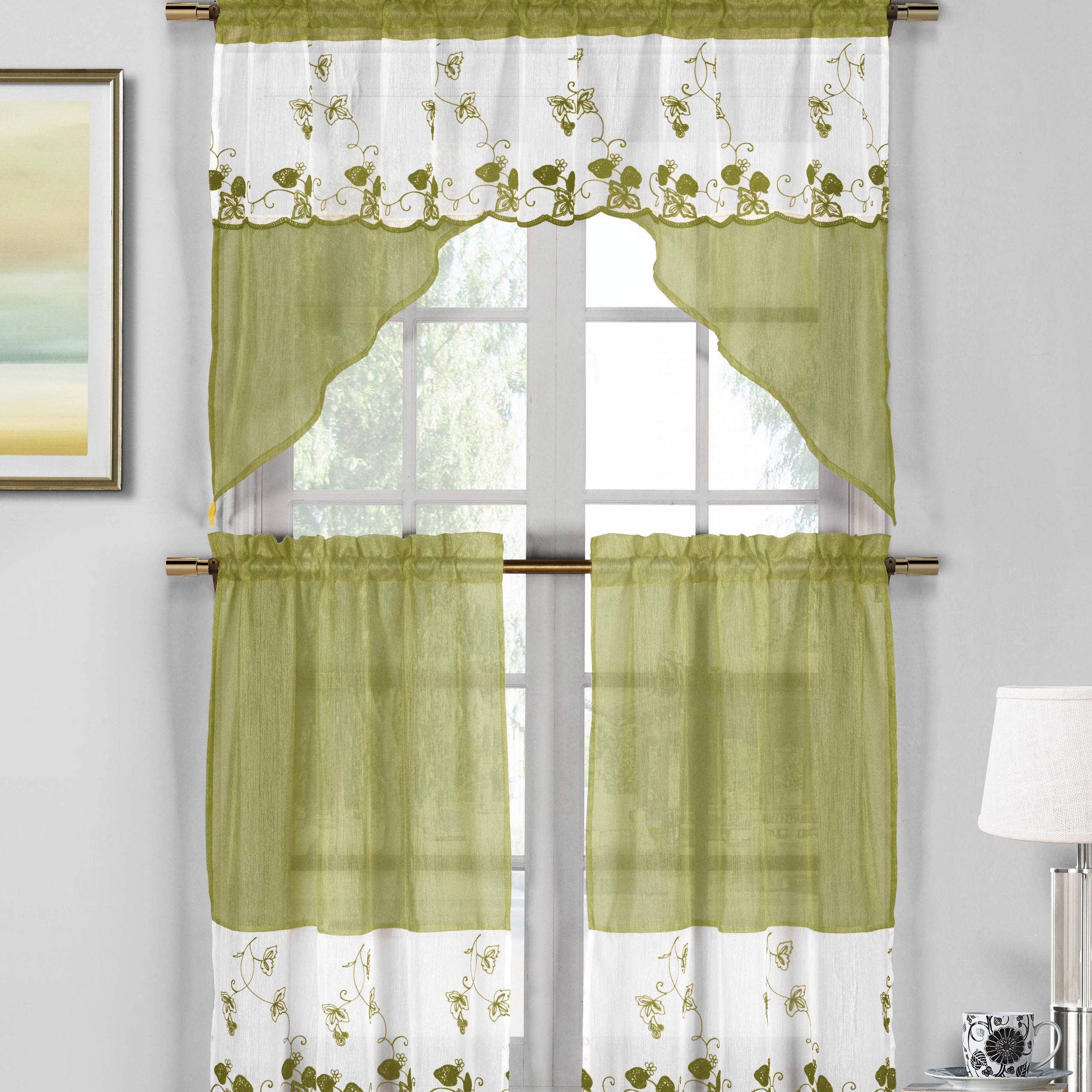 3 Piece Sage Green And White Sheer Window Curtain Set: Strawberry Field  Embroidery, 2 Tiers, 1 Swag Valance – Walmart Inside Abby Embroidered 5 Piece Curtain Tier And Swag Sets (Image 1 of 20)