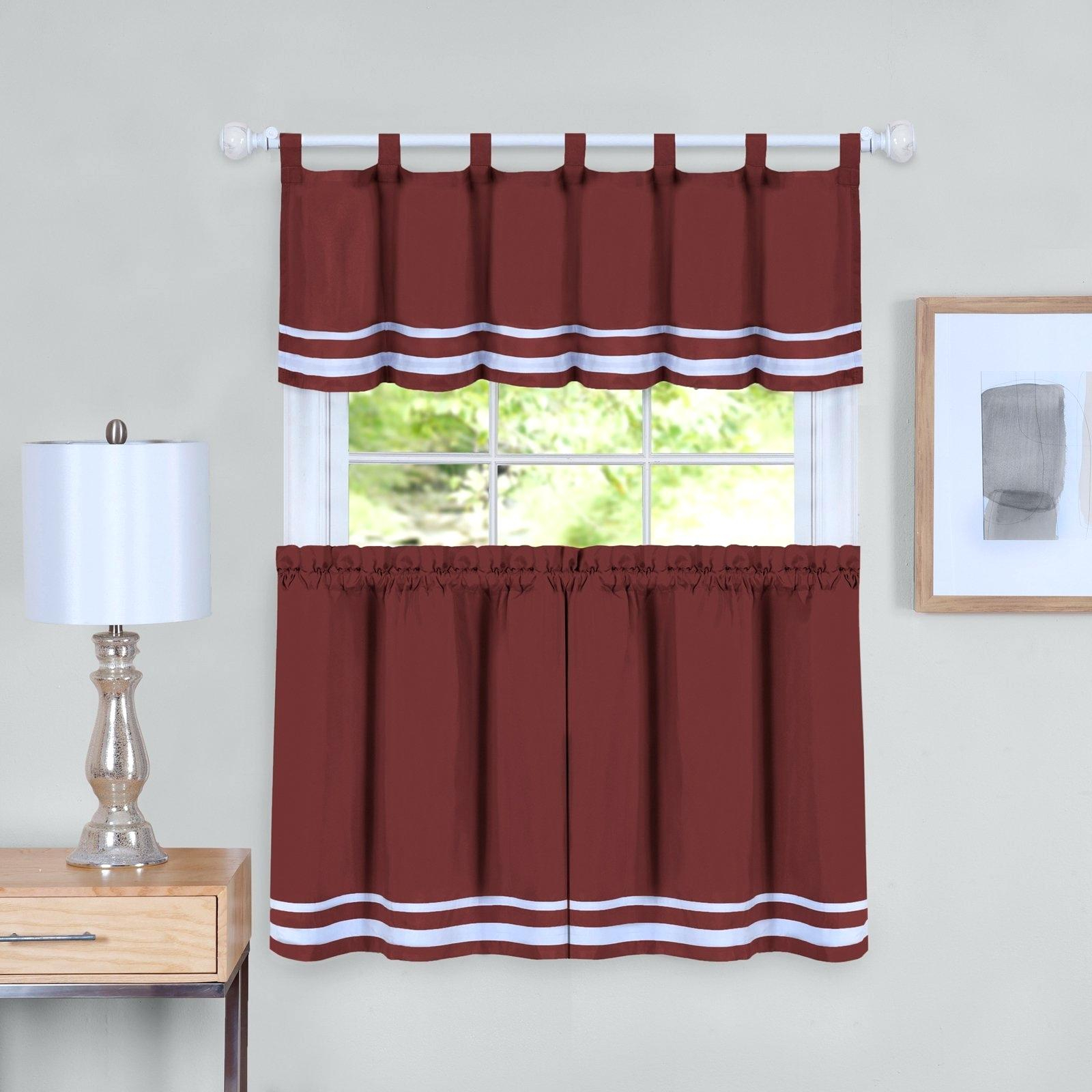 3 Tier Curtains – Visele Mele Within Cotton Lace 5 Piece Window Tier And Swag Sets (View 18 of 20)