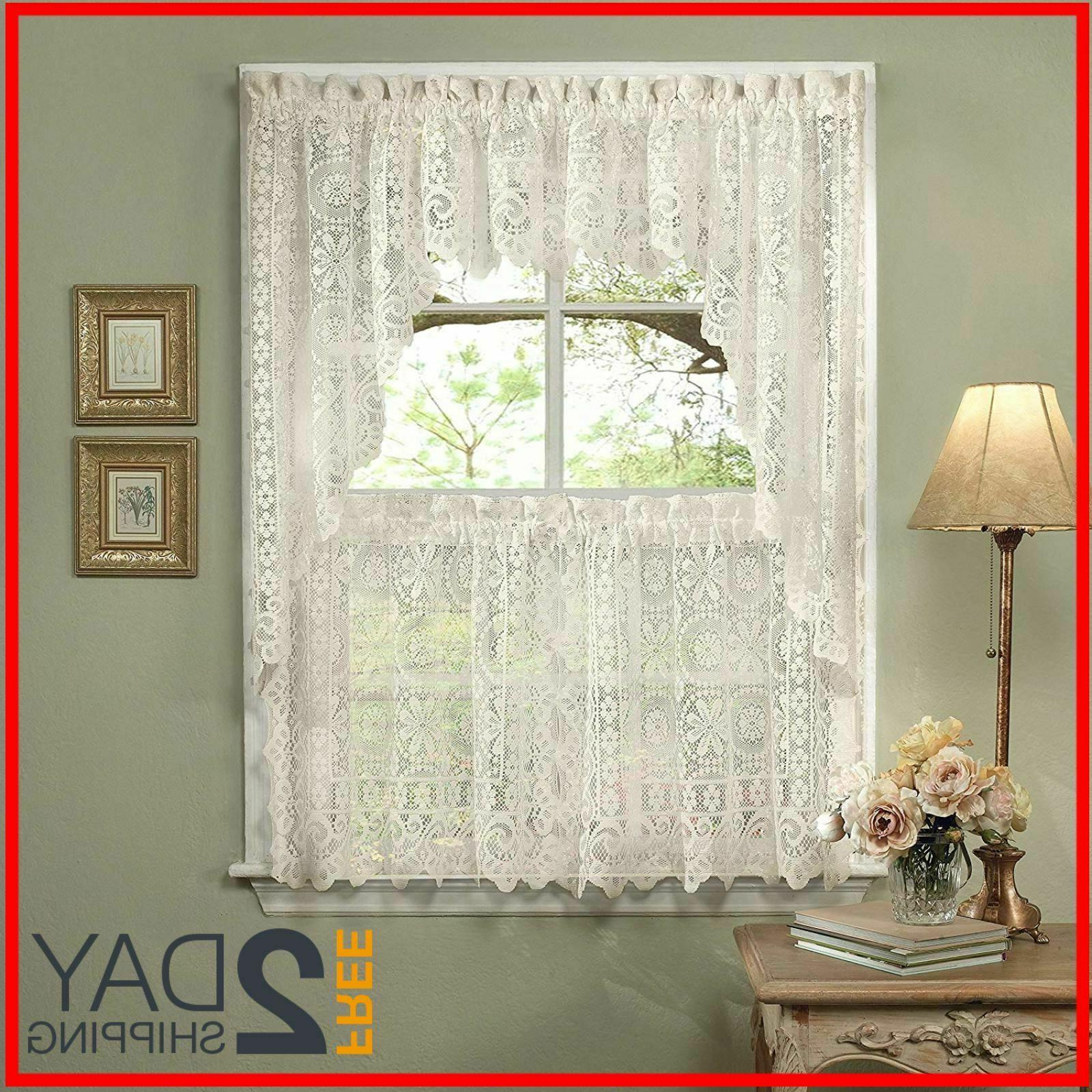 5 Pc Kitchen Curtain Set, Swag Pair, Val For Cottage Ivy Curtain Tiers (View 1 of 20)