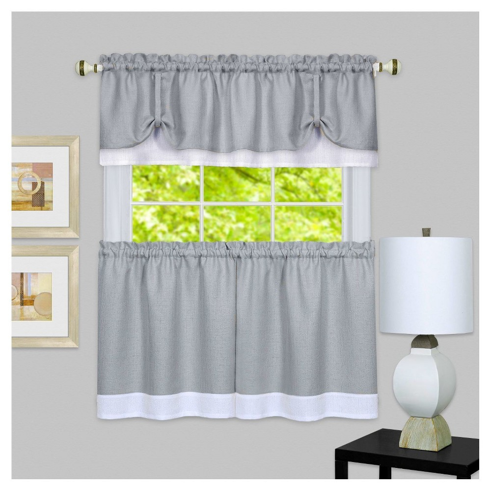 """58""""x36"""" Darcy Window Curtain Tier And Valance Set Gray/white With Regard To Dakota Window Curtain Tier Pair And Valance Sets (View 4 of 20)"""