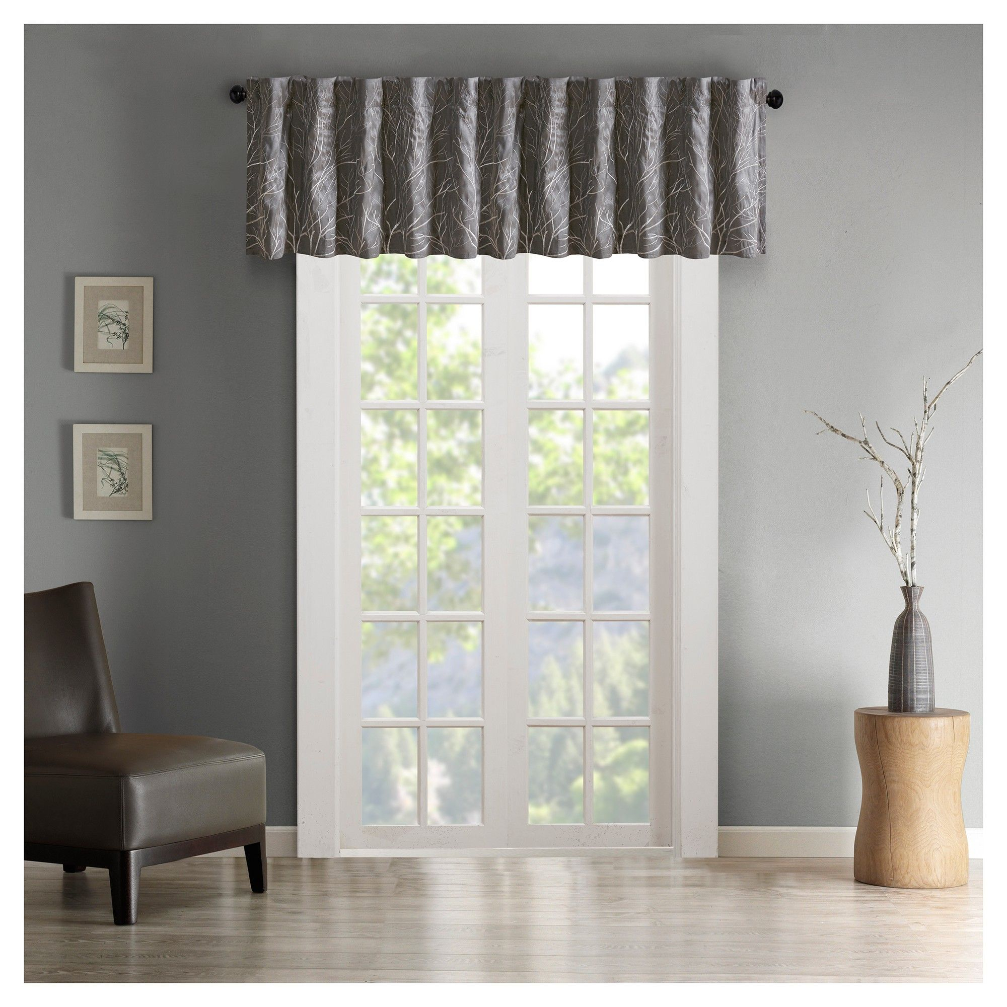 """5""""x18"""" Faux Silk Embroidered Blackout Window Valance Gray Regarding Floral Embroidered Faux Silk Kitchen Tiers (View 12 of 20)"""