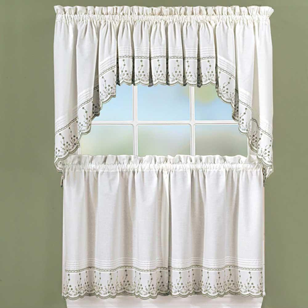 Abby Embroidered Tier, Valance And Swag   Products Throughout Chocolate 5 Piece Curtain Tier And Swag Sets (View 4 of 20)