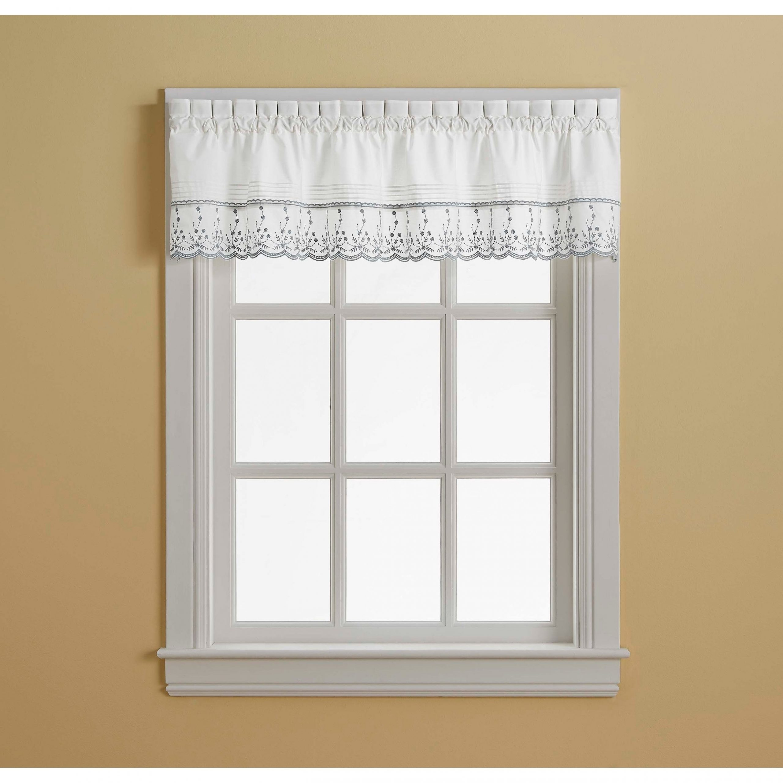 Abby Tailored Valance And Tier Curtain Collection In Abby Embroidered 5 Piece Curtain Tier And Swag Sets (Image 3 of 20)