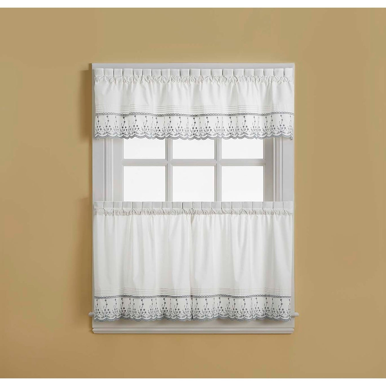 Abby Tailored Valance And Tier Curtain Collection Within Cumberland Tier Pairs In Dove Gray (View 1 of 20)