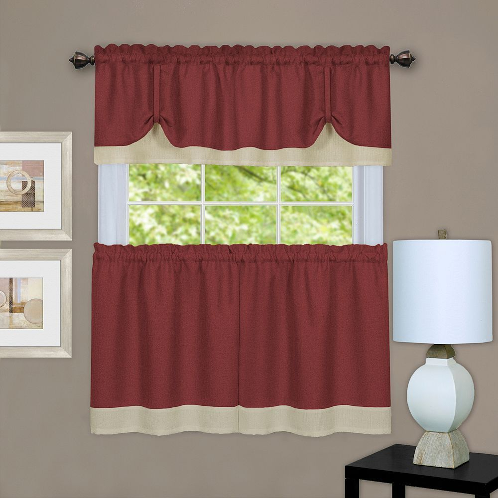 Achim 3 Piece Darcy Tier & Valance Kitchen Window Curtain Pertaining To Grace Cinnabar 5 Piece Curtain Tier And Swag Sets (View 14 of 20)
