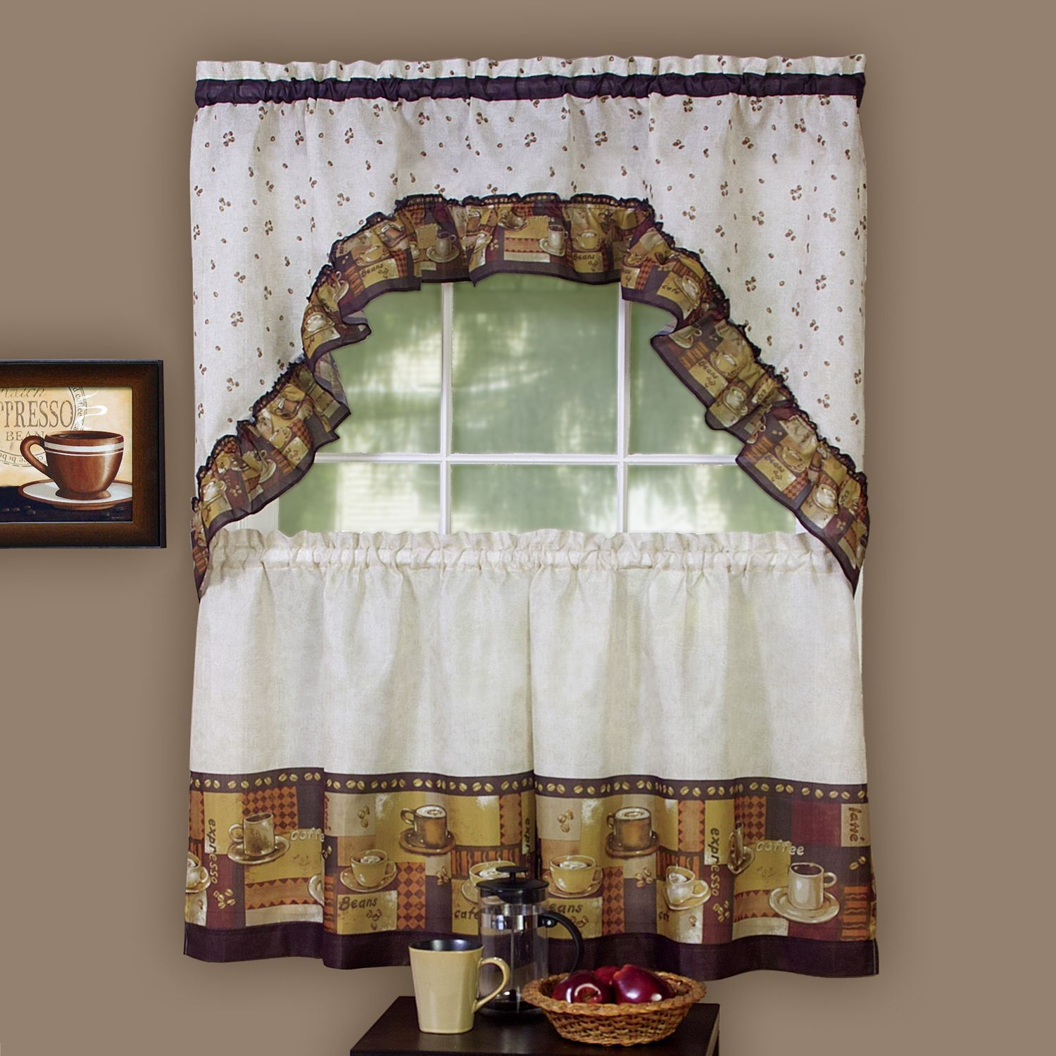Achim Achim Multicolor Coffee (Brown) Printed Tier And Swag Pertaining To Chocolate 5 Piece Curtain Tier And Swag Sets (View 5 of 20)