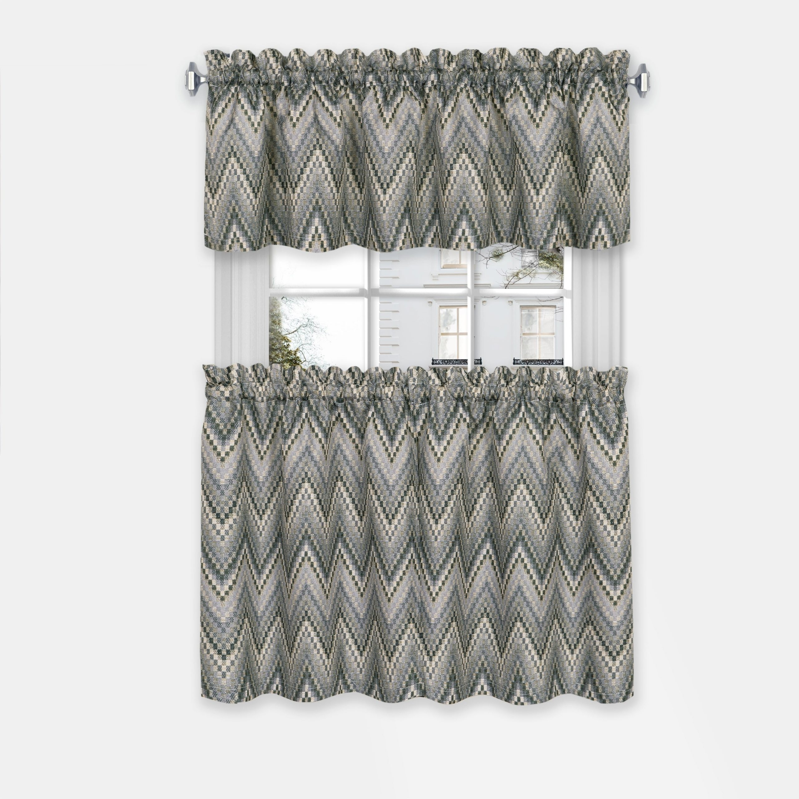 Achim Avery Window Curtain Tier Pair And Valance Set With Grey Window Curtain Tier And Valance Sets (View 11 of 20)