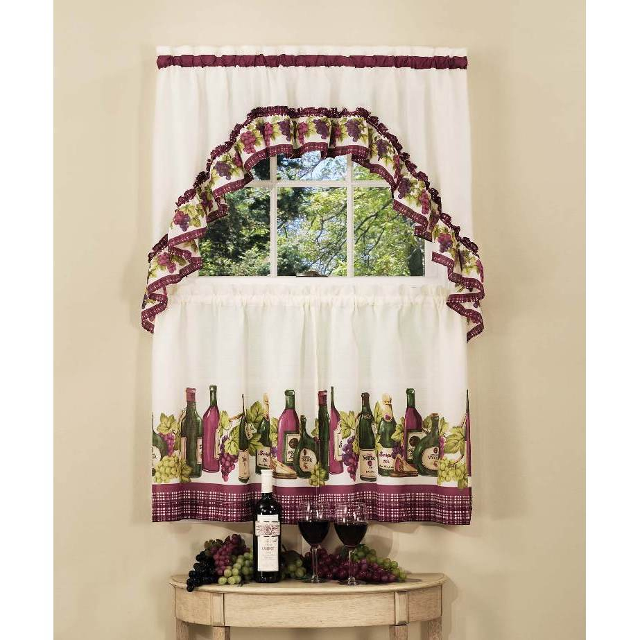 Achim Chardonnay Tier And Swag Kitchen Curtain Set Intended For Grace Cinnabar 5 Piece Curtain Tier And Swag Sets (View 5 of 20)