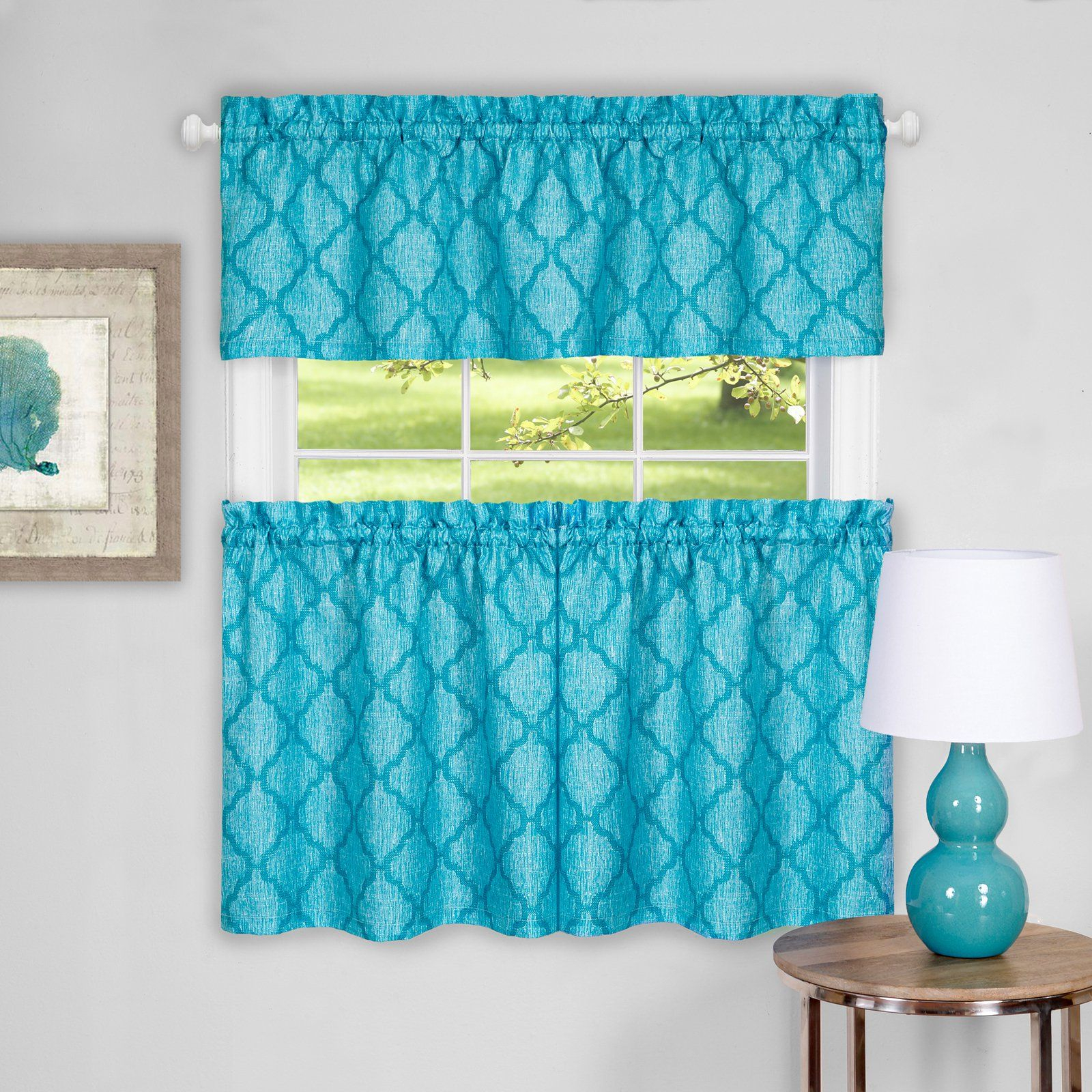 Achim Colby Window Curtain Tier Pair And Valance Set Inside Coastal Tier And Valance Window Curtain Sets (View 1 of 20)