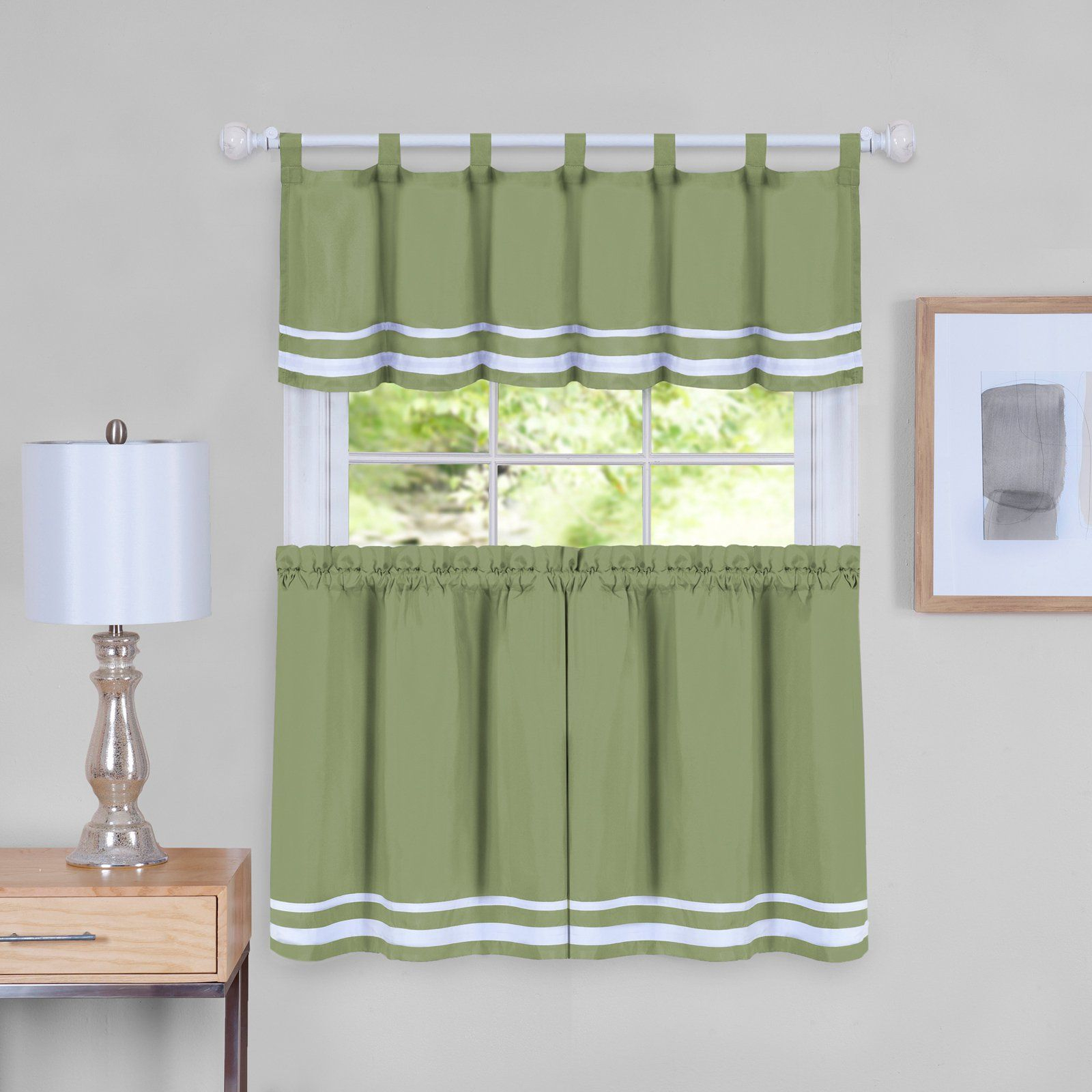 Achim Dakota Window Curtain Tier Pair And Valance Set Regarding Forest Valance And Tier Pair Curtains (View 9 of 20)