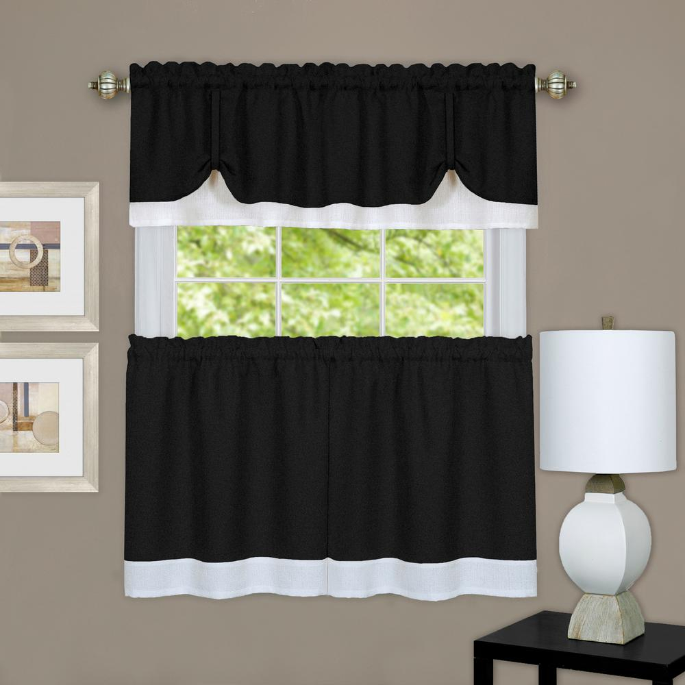 Achim Darcy Black/white Polyester Tier And Valance Curtain Set – 58 In. W X 24 In (View 1 of 20)