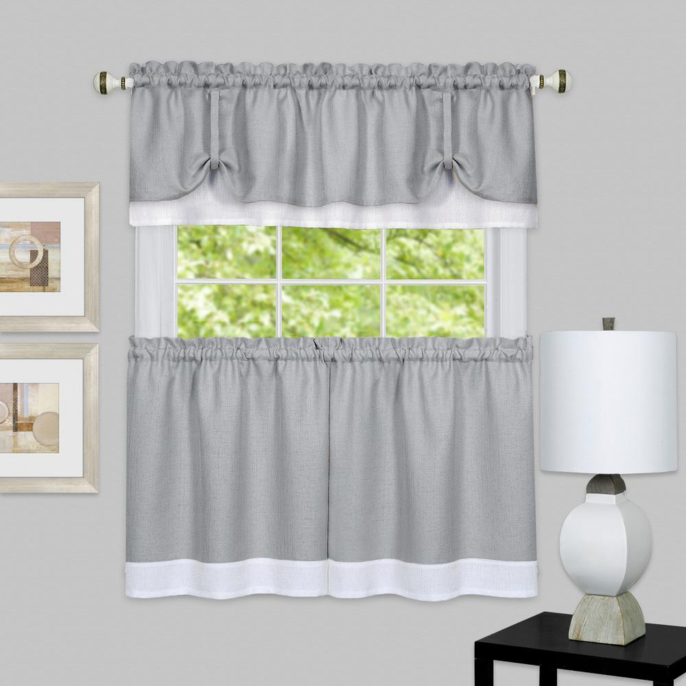 Achim Darcy Grey/white Polyester Tier And Valance Curtain Set 58 In. W X 24 In (View 2 of 20)