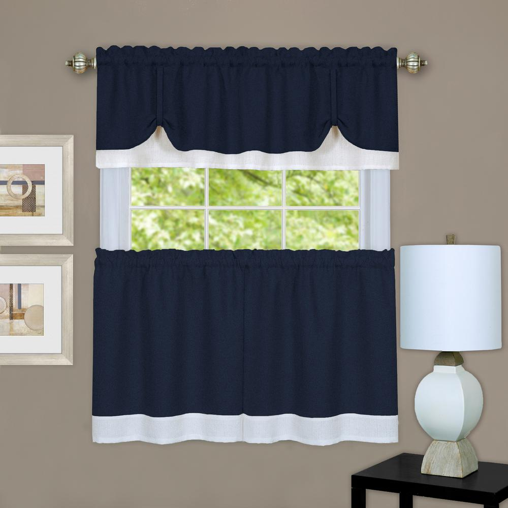 Achim Darcy Navy/white Polyester Tier And Valance Curtain Set – 58 In. W X 24 In (View 3 of 20)