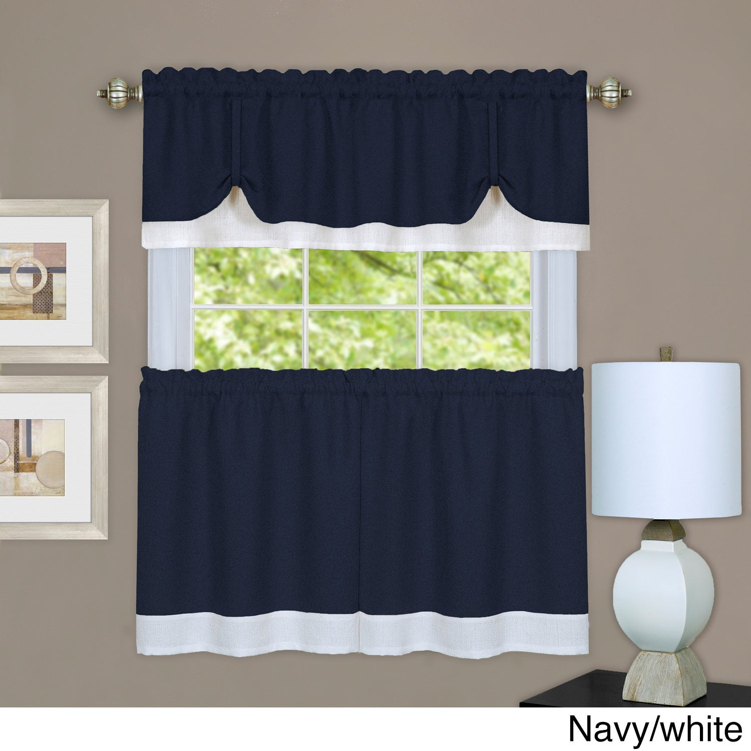 Achim Darcy Window Curtain Tier And Valance Set In Microfiber 3 Piece Kitchen Curtain Valance And Tiers Sets (View 18 of 20)
