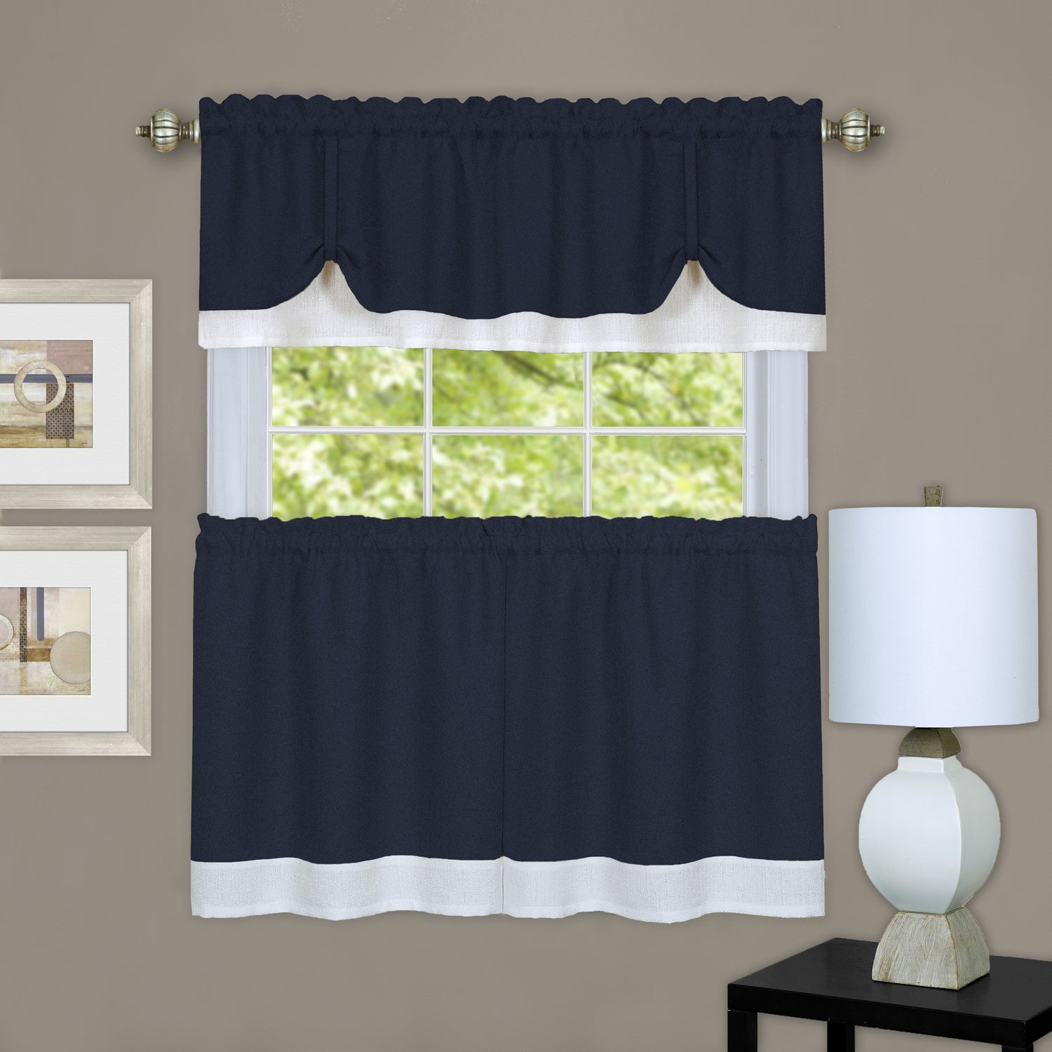 Achim Darcy Window Curtain Tier And Valance Set Intended For Solid Microfiber 3 Piece Kitchen Curtain Valance And Tiers Sets (View 10 of 20)
