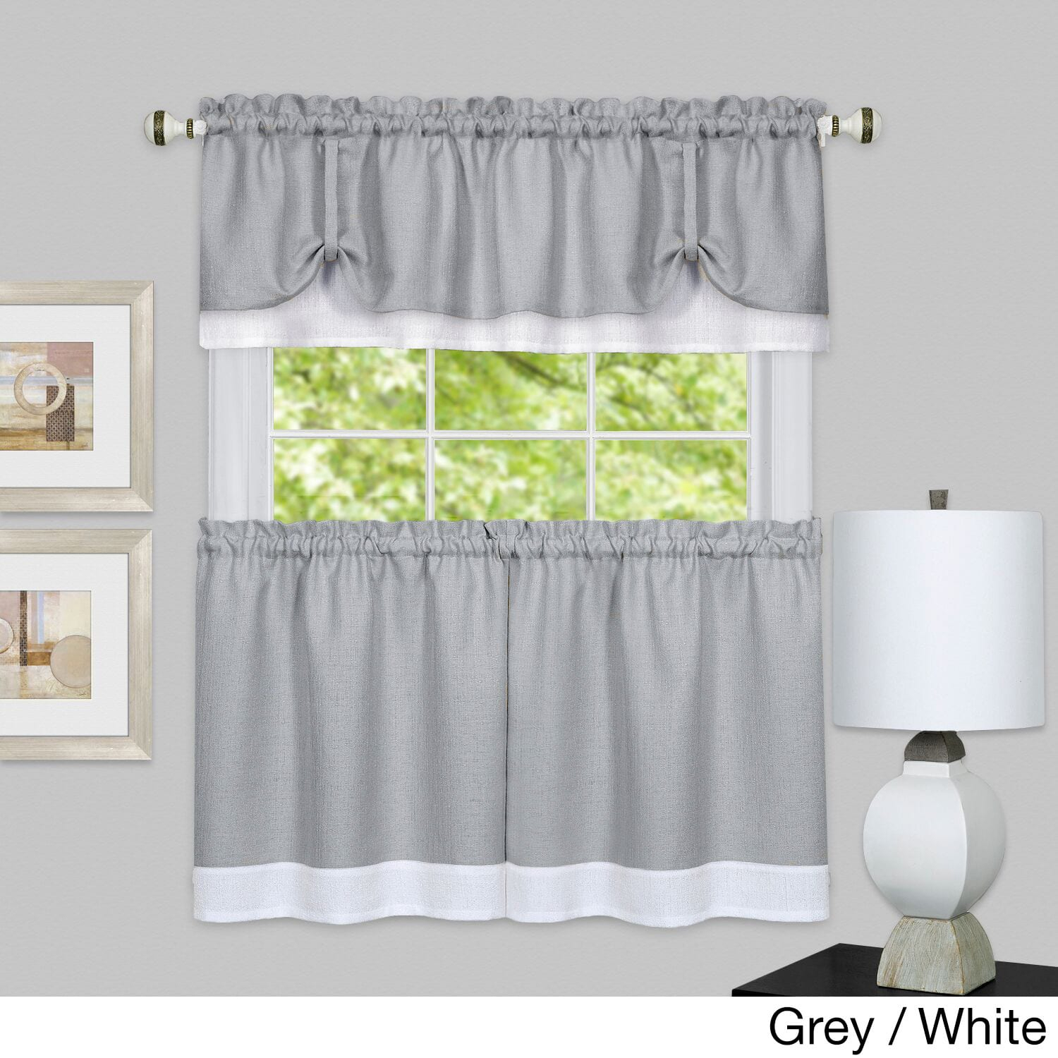 Achim Darcy Window Curtain Tier And Valance Set (marsala/tan Throughout Solid Microfiber 3 Piece Kitchen Curtain Valance And Tiers Sets (View 5 of 20)