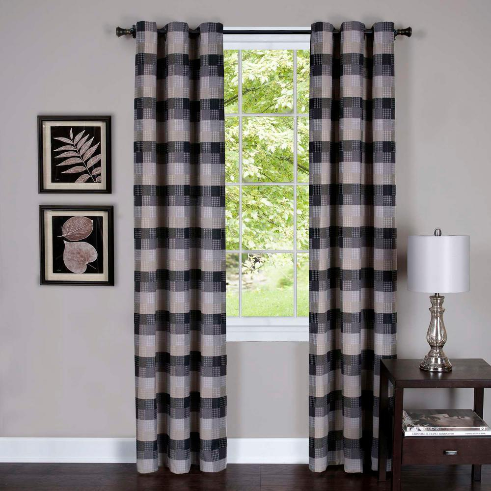 Achim Harvard Black Window Curtain Panel W/6 Grommets – 42 In Grandin Curtain Valances In Black (View 6 of 20)