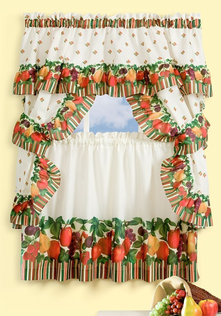 Achim Home Furnishings Tuttie Frutie Cottage Set, 24 Inch Throughout Oakwood Linen Style Decorative Curtain Tier Sets (View 20 of 20)