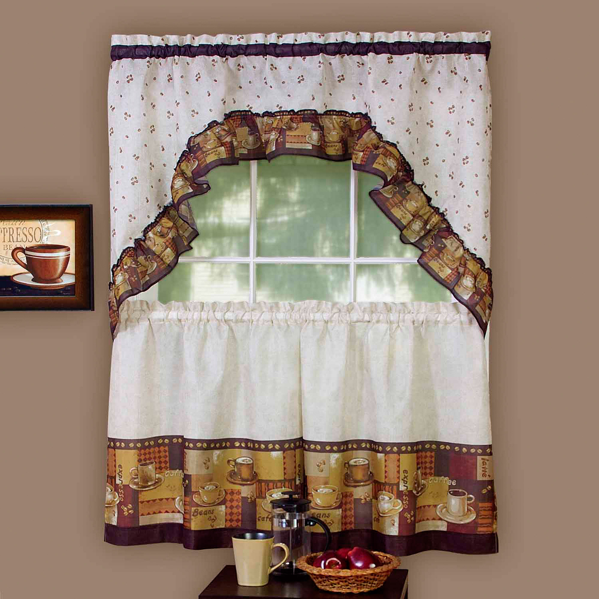 Achim Kitchen Curtain And Swag Set, Coffee – Walmart Inside Coffee Drinks Embroidered Window Valances And Tiers (View 1 of 20)