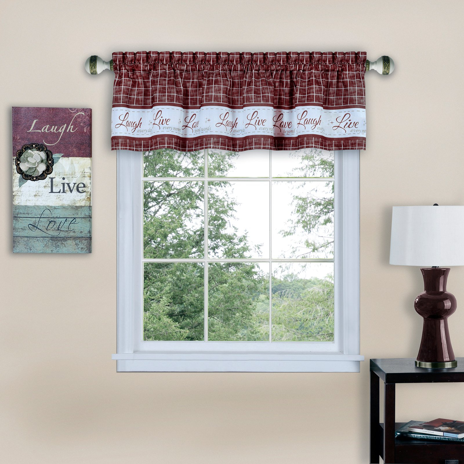 Achim Live Love Laugh Window Curtain Valance Burgundy With Tree Branch Valance And Tiers Sets (View 14 of 20)