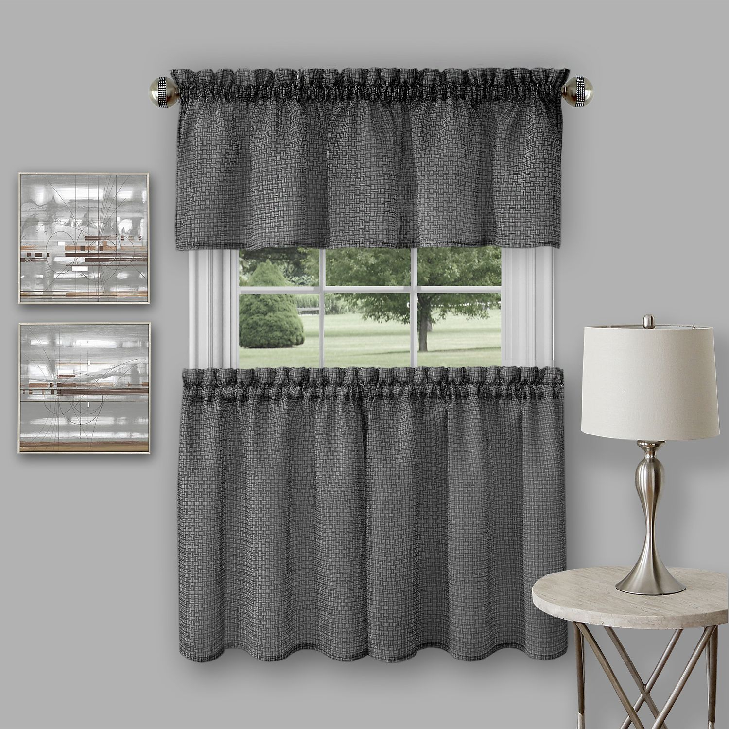 Achim Richmond Window Kitchen Curtain Tier Pair And Valance Set Regarding Coastal Tier And Valance Window Curtain Sets (View 5 of 20)