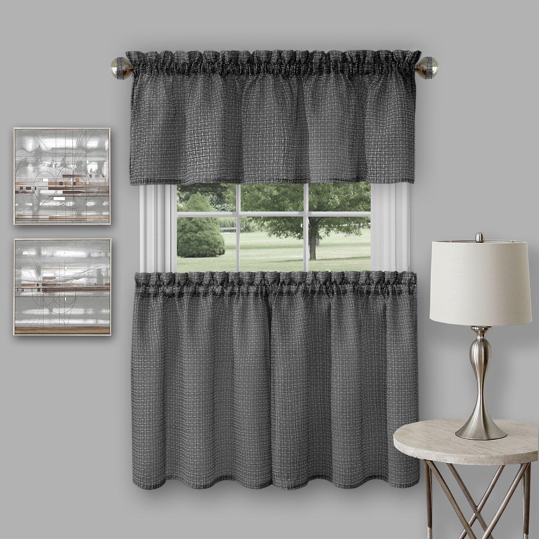 Achim Richmond Window Kitchen Curtain Tier Pair And Valance Set Throughout Dakota Window Curtain Tier Pair And Valance Sets (View 12 of 20)