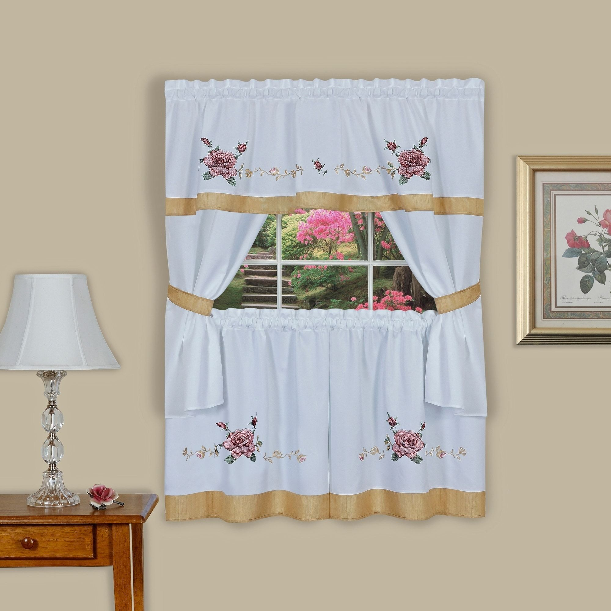 Achim Rose Embellished Cottage Window Curtain Set (57x36 With French Vanilla Country Style Curtain Parts With White Daisy Lace Accent (View 12 of 20)