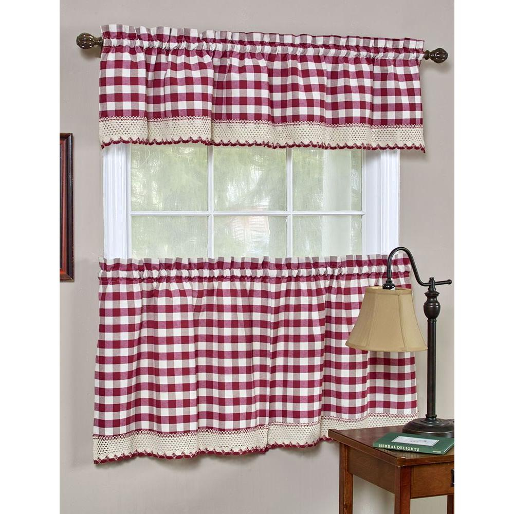 Achim Semi Opaque Buffalo Check Chocolate Rod Pocket Tier With Regard To Barnyard Buffalo Check Rooster Window Valances (View 15 of 20)