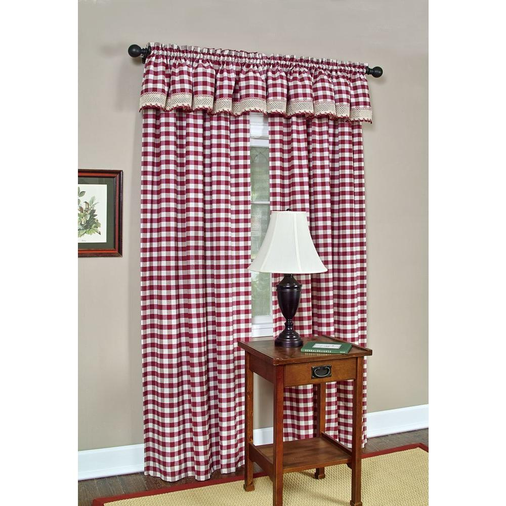 Achim Semi Opaque Buffalo Check Navy Poly/cotton Window Curtain Panel 42 In. W X 63 In (View 1 of 20)