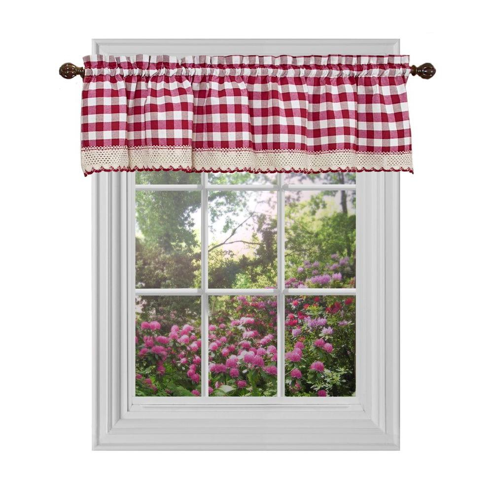 Achim Semi Opaque Buffalo Check Navy Poly/cotton Window Curtain Panel 42 In. W X 63 In (View 2 of 20)